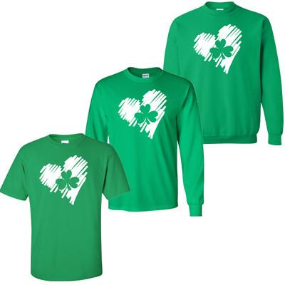 Heart Shamrock T-Shirt - Irish Green