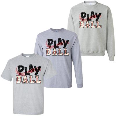 Baseball Play Ball T-Shirt - Sport Grey