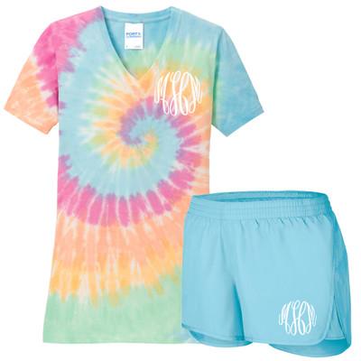 Monogrammed Tie Dye V-Neck And Athletic Short Set