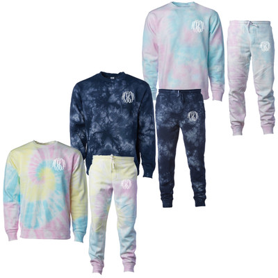 Monogrammed Tie Dye Sweatshirt And Jogger Set
