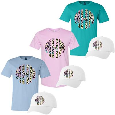 Leopard Tie Dye Monogram Bella Canvas Tee And Hat Bundle