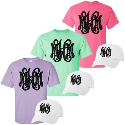 Monogrammed Black Onyx Leopard Shirt And Hat Bundle