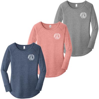 Monogrammed Long Sleeve Tunic Shirt