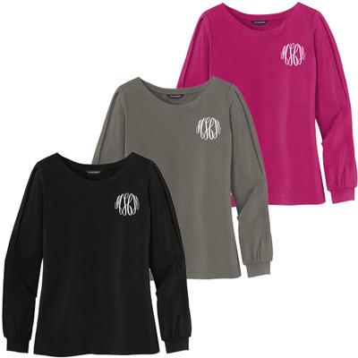 Monogrammed Jewel Neck Long Sleeve Shirt