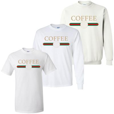 Monogrammed Coffee Designer Graphic Tee Shirt