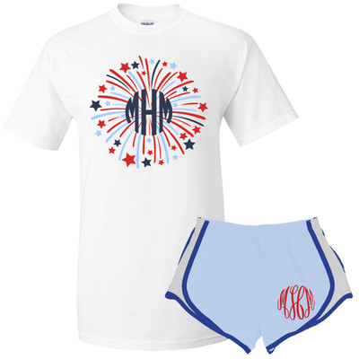 Monogrammed Patriotic Firework Graphic Tee And Athletic Short Set