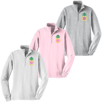 Monogrammed Embroidered Pineapple 1/4 Zip Pullover