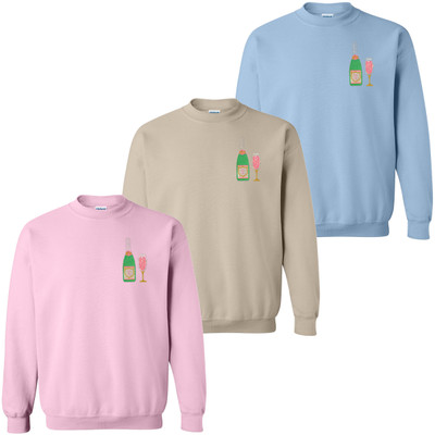 Monogrammed Embroidered Champagne And Glass Sweatshirt