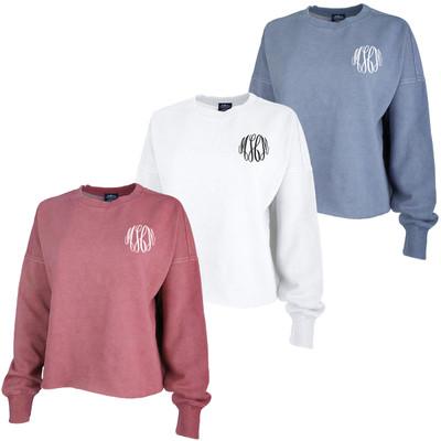 Monogrammed Charles River Distressed Boxy Sweatshirt