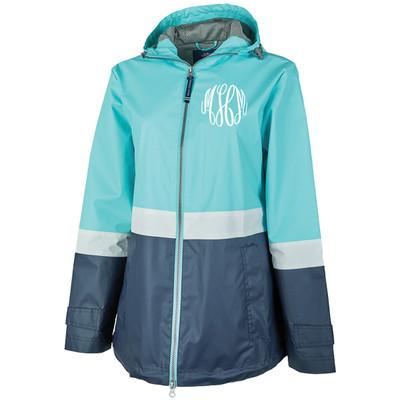 Monogrammed Charles River Color Blocked New Englander Rain Jacket
