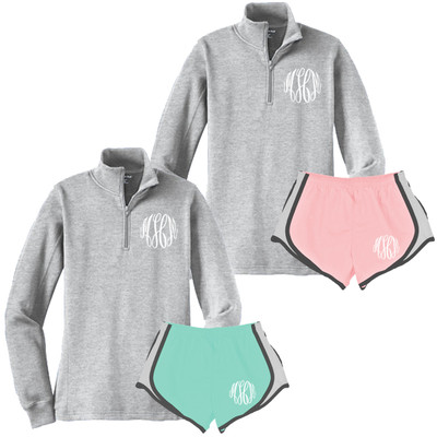 Monogrammed 1/4 Zip Pullover And Athletic Short Set