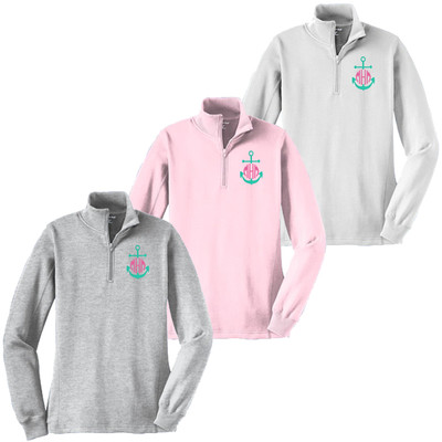 Monogrammed Embroidered Mint Anchor 1/4 Zip Pullover