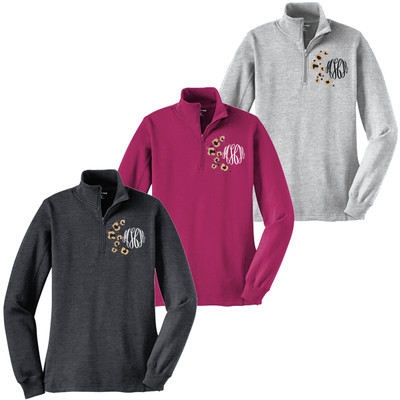 Monogrammed Embroidered Leopard Spots 1/4 Zip Pullover
