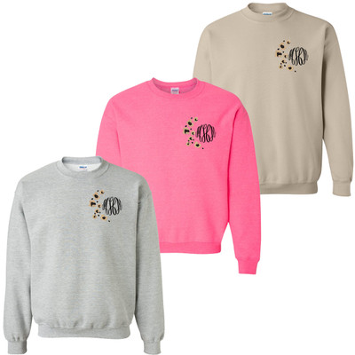 Monogrammed Embroidered Leopard Spots Sweatshirt