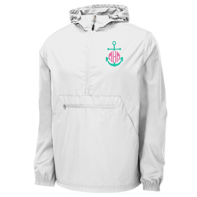 Monogrammed Embroidered Mint Anchor Anorak