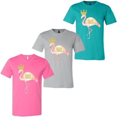 Monogrammed Flamingo Bella Canvas Tee