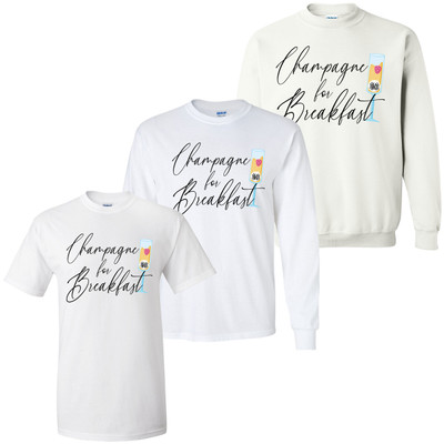 Monogrammed Champagne For Breakfast Graphic Tee Shirt
