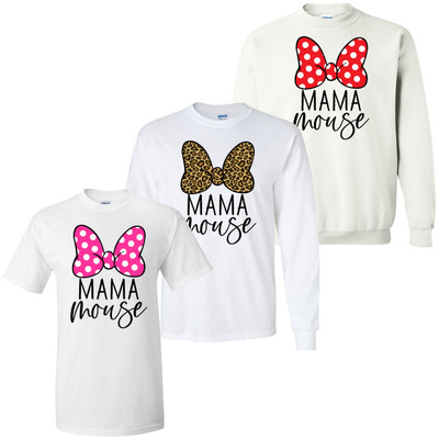 Mama Mouse Bow Graphic Tee Shirt
