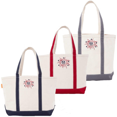 Monogrammed Embroidered Firework Canvas Large Boat Tote