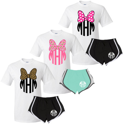 Monogrammed Mouse Bow Graphic Tee And Athletic Short Set