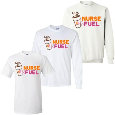 Monogrammed Nurse Fuel Orange And Pink Graphic Tee