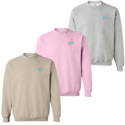 Monogrammed Embroidered Flamingo Sweatshirt