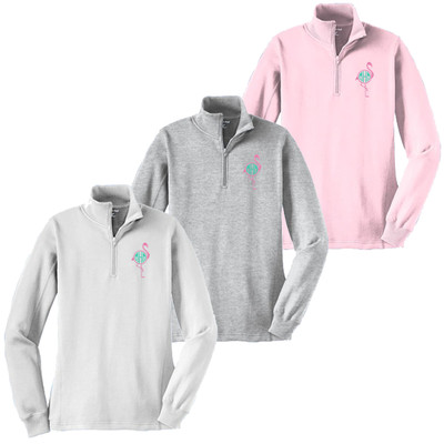 Monogrammed Embroidered Flamingo 1/4 Zip Pullover