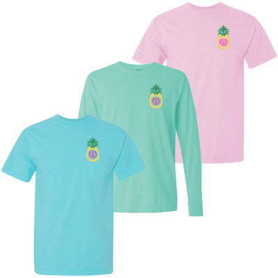 Monogrammed Embroidered Pineapple Comfort Colors T-Shirt