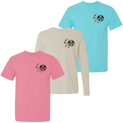 Monogrammed Embroidered Leopard Spots Comfort Colors T-Shirt
