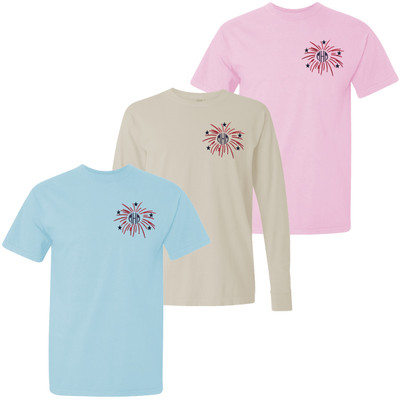 Monogrammed Embroidered Firework Comfort Colors T-Shirt