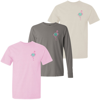 Monogrammed Embroidered Flamingo Comfort Colors T-Shirt