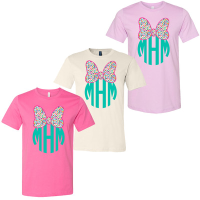 Monogrammed Fun Leopard Mouse Bow Bella Canvas Tee