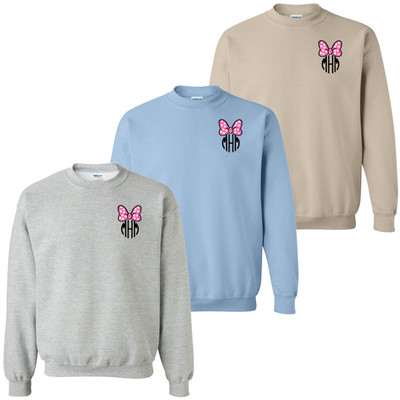 Monogrammed Embroidered Pink Mouse Bow Sweatshirt