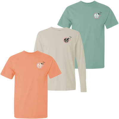 Monogrammed Embroidered Nurse Stethoscope Comfort Colors T-Shirt