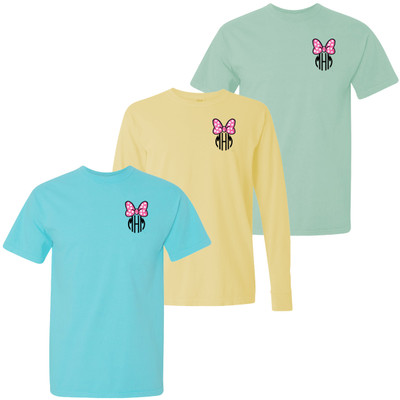 Monogrammed Embroidered Pink Mouse Bow Comfort Colors T-Shirt
