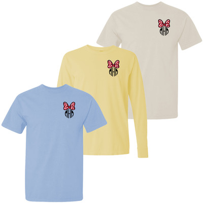 Monogrammed Embroidered Red Mouse Bow Comfort Colors T-Shirt