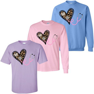 Monogrammed Nurse Leopard Heart With Stethoscope Shirt
