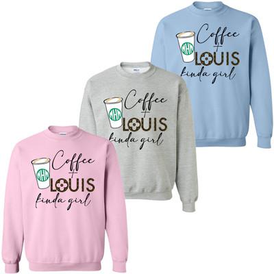 Monogrammed Coffee Kinda Girl Sweatshirt