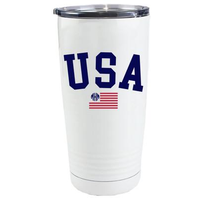 Monogrammed Patriotic USA Flag Stainless Steel Tumbler