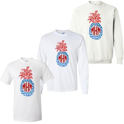 Monogrammed Patriotic Pineapple Graphic Tee