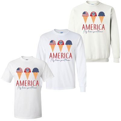Monogrammed America Home Sweet Home Ice Cream Graphic Tee