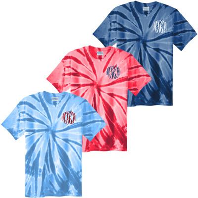 Monogrammed Patriotic Tie-Dye Tee