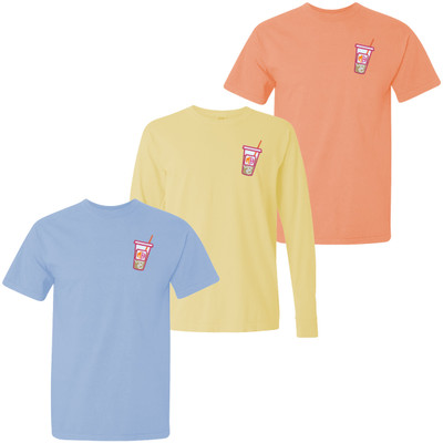 Monogrammed Embroidered Iced Coffee Comfort Colors T-Shirt