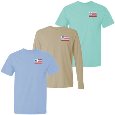 Monogrammed Embroidered Flag Comfort Colors T-Shirt
