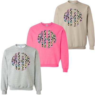 Monogrammed Tie Dye Leopard Sweatshirt