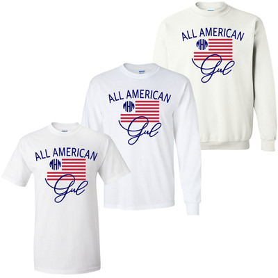 Monogrammed All American Girl Graphic Tee
