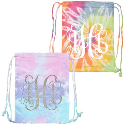 Monogrammed Tie Dye Cinch Backpack