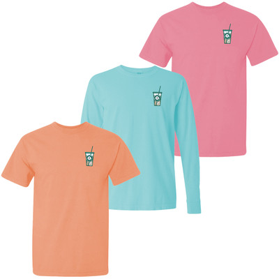 Monogrammed Embroidered Green Iced Coffee Comfort Colors T-Shirt