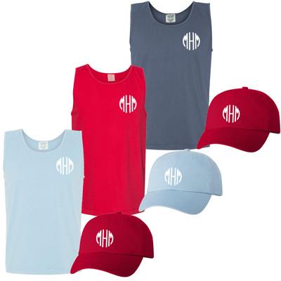 Monogrammed Patriotic Comfort Colors Tank Top And Hat Bundle