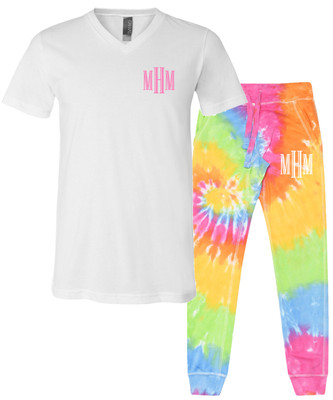 Monogrammed Bella Canvas V-Neck Tee And Tie Dye Joggers